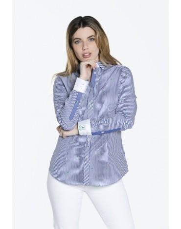 Valecuatro camisa rayas tropical azul marino