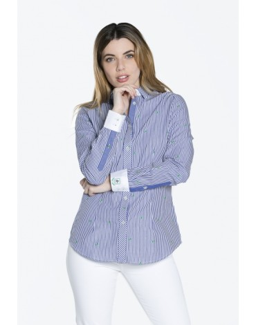 Valecuatro navy blue striped shirt