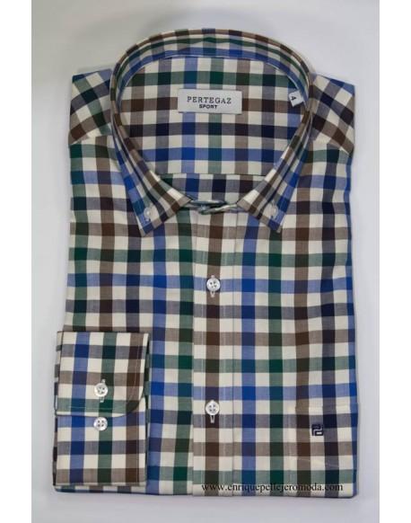 Pertegaz camisa cuadros azules