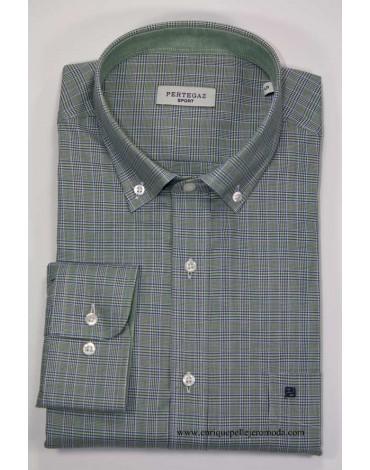 Pertegaz camisa sport cuadros verdes