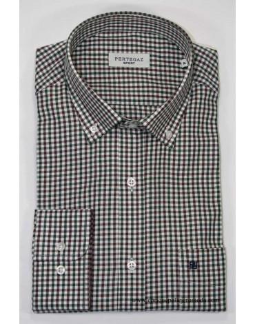 Pertegaz camisa cuadritos verdes