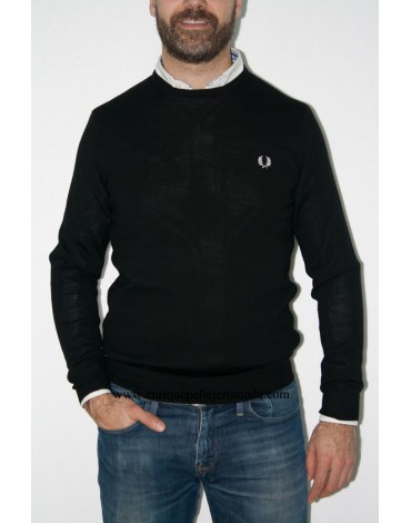 Fred Perry jersey negro cuello redondo
