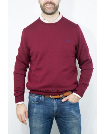 Fred Perry jersey granate cuello redondo