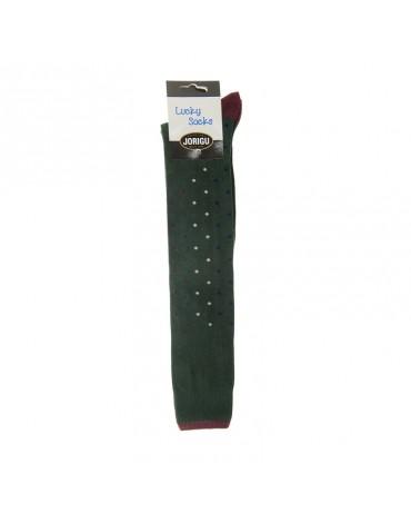 Jorigu calcetían alto verde topitos colores