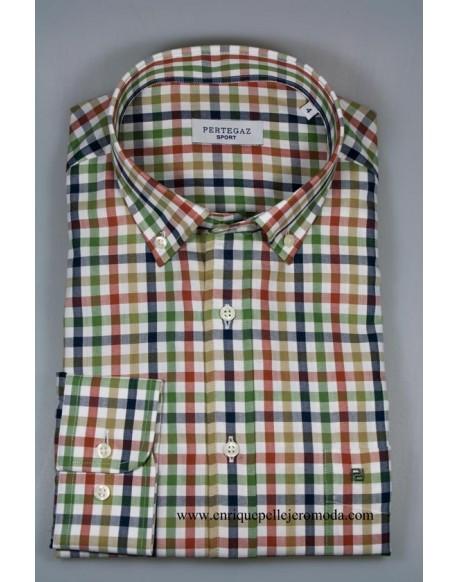 Pertegaz camisa cuadros verdes manga larga