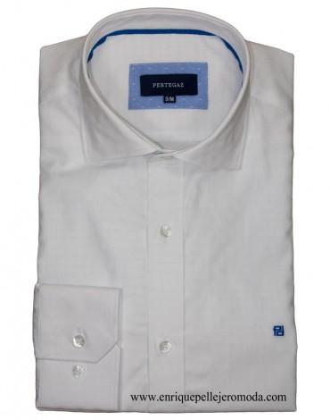 Pertegaz camisa vestir blanca círculos