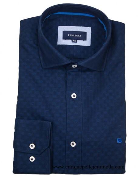 Pertegaz camisa vestir azul marino círculos
