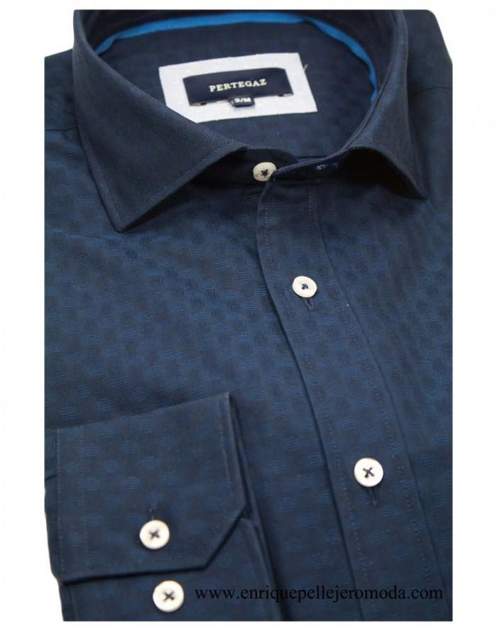 online gran selección bajo precio Pertegaz camisa vestir azul marino círculos Compra camisa ...