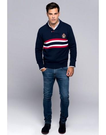 Valecuatro chester sweater navy blue