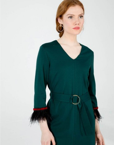 Vilagallo vestido verde fiona kn