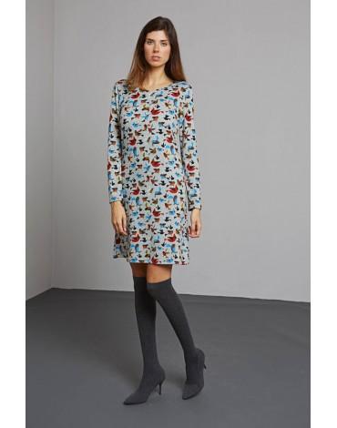 MdM vestido gris pajaros