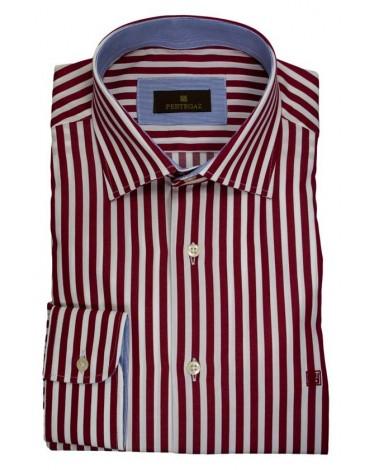 Pertegaz camisa rayas vestir roja