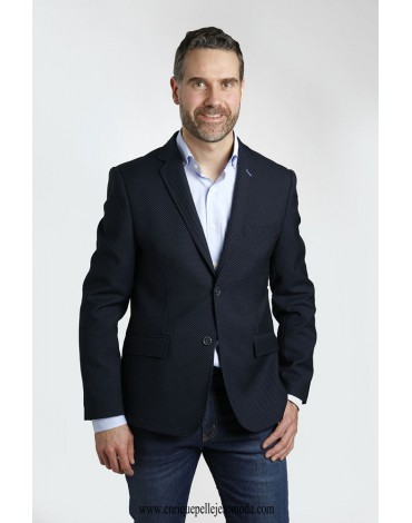 Navy blue jacket moles Enrique Pellejero