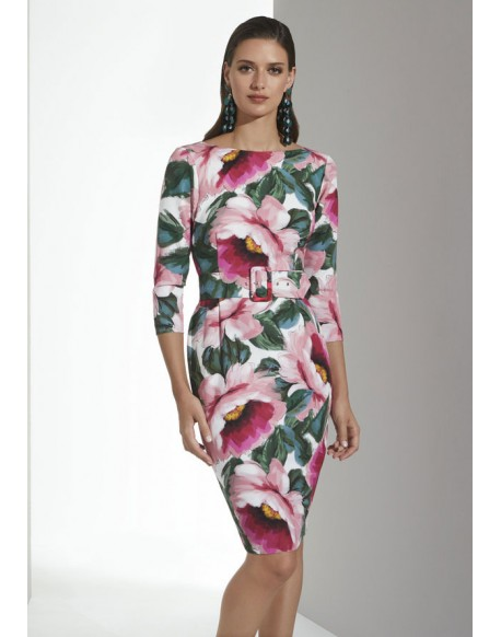 Matilde Cano printed dress with French sleeve