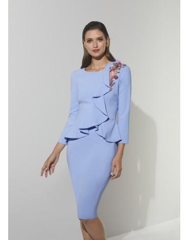 Matilde Cano vestido lila volante aplique