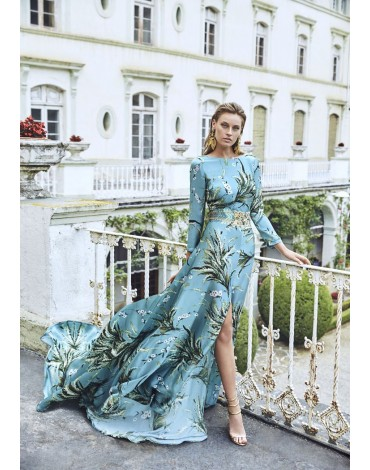Matilde Cano blue dress with palm trees