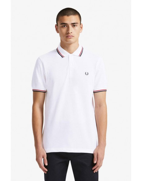 Fred Perry white polo shirt red and navy blue stripe
