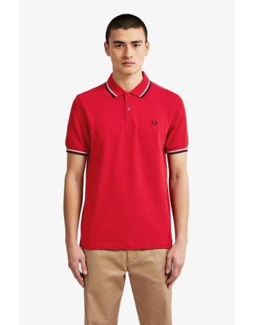 Fred Perry red polo shirt with white and navy blue stripe