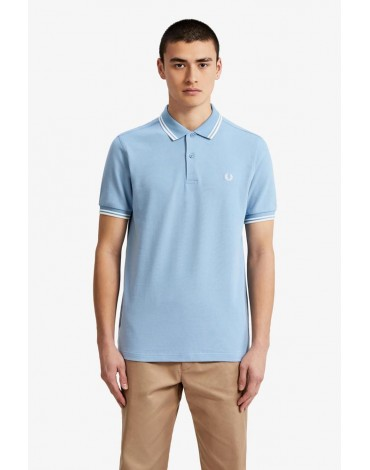 Fred Perry polo shirt celeste white stripes