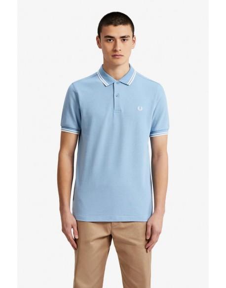 Fred Perry polo shirt celeste white stripes