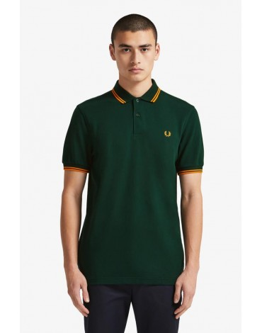 Fred Perry green polo shirt orange stripes