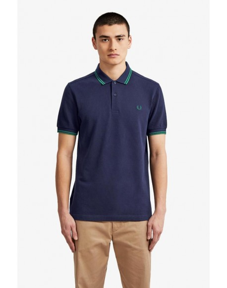Fred Perry polo azul franjas verdes