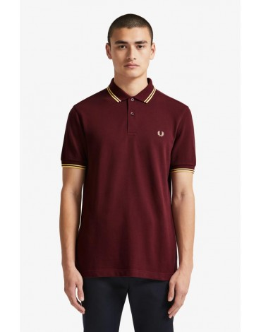 Fred Perry polo shirt eggplant cream stripes