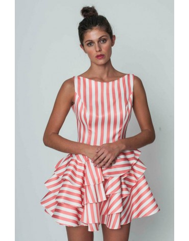 Margarita Muñoz coral striped dress