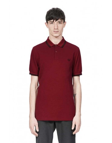 Fred Perry burgundy short sleeve polo shirt