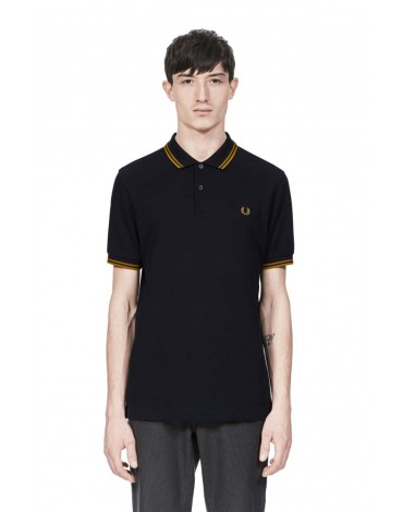 Fred Perry polo shirt navy blue short sleeve