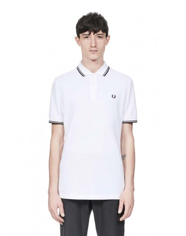 Fred Perry polo blanco manga corta