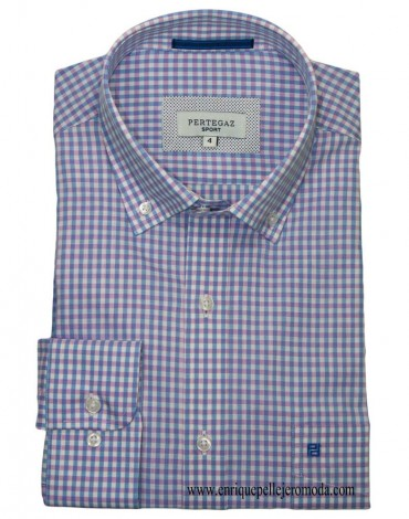 Pertegaz pink plaid sport shirt