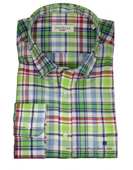 Pertegaz shirt green squares