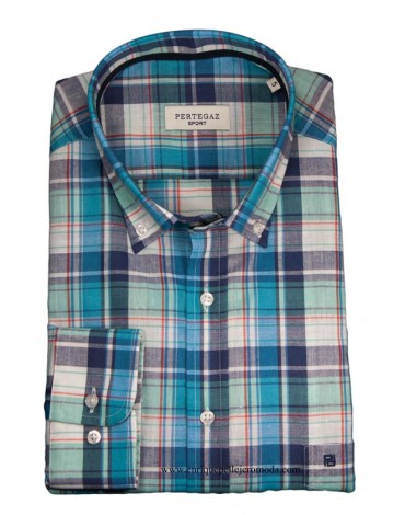 Pertegaz sport shirt blue plaid