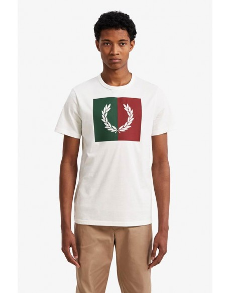 Fred Perry camiseta blanca corona laurel