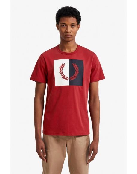 Fred Perry camiseta roja corona laurel