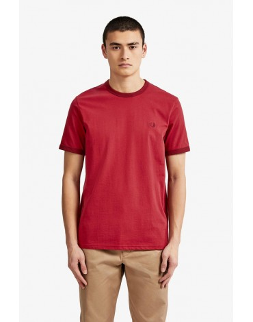 Fred Perry camiseta roja Ringer