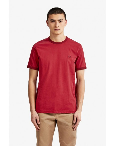 Fred Perry camiseta roja Ringer