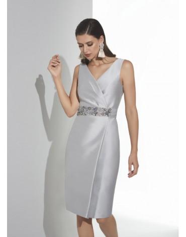Matilde Cano gray cross dress with belt
