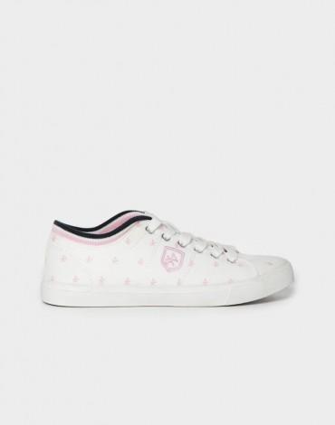 Valecuatro zapatilla lona blanca logos
