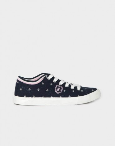 Valecuatro navy canvas sneakers logo