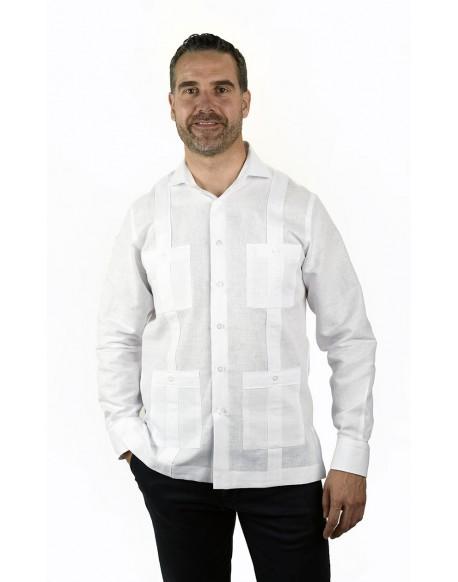 sitio de buena reputación venta de tienda outlet elige auténtico Guayabera blanca hombre Camisa cubana blanca Enrique Pellejero