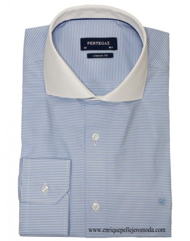 Pertegaz sky blue striped shirt