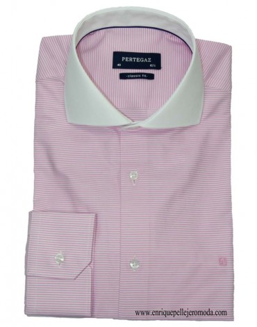 Pertegaz pink striped shirt