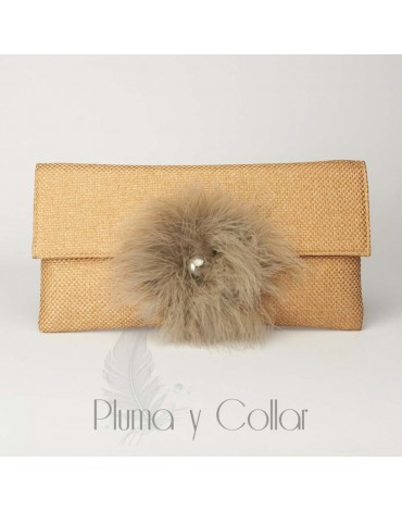 Brown Pompom Wallet