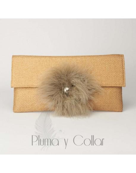 Brown Pompom Wallet