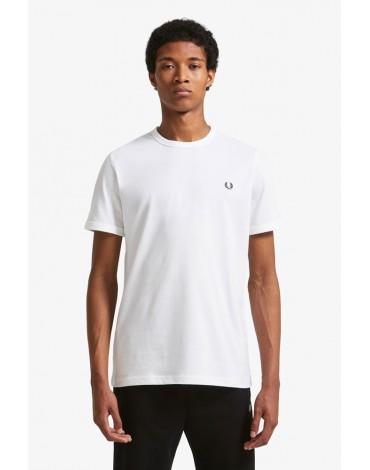 Fred Perry camiseta blanca Ringer