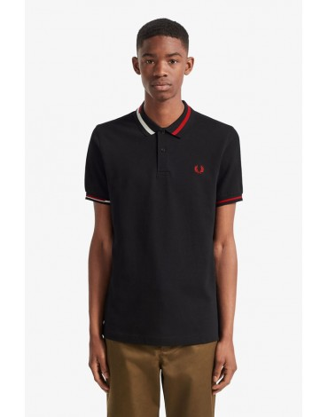 Fred Perry black polo shirt neck abstract