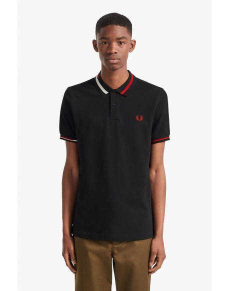 Fred Perry abstract black polo shirt