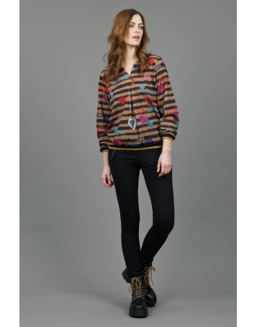Hongo print striped sweater